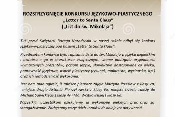 """ROZSTRZYGNIĘCIE KONKURSU JĘZYKOWO-PLASTYCZNEGO """"Letter to Santa Claus"""""""